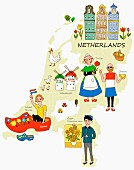 An illustration of the Netherlands featuring typical attractions on a map
