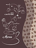 A cafe menu illustrated with coffee cups and various types of coffee