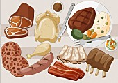 An arrangement of various meats and cold cuts (illustration)