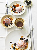 Blackberry mousse with orange syrup
