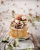 A hedgehog cupcake with chocolate coffee cream