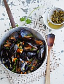 Mussels in a green tea broth