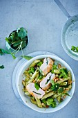 Penne with lemon balm pesto and chicken breast (seen from above)