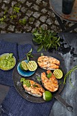 Grilled salmon steaks with mint and coriander pesto