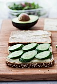 A summer sandwich with cheese and cucumber