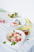 Coconut risotto with fresh wasabi and strawberry compote