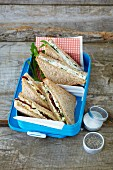 Egg salad sandwiches and cream cheese sandwiches