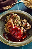 Chicken legs with a pomegranate sauce