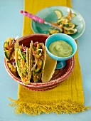 Vegetables tacos with guacamole