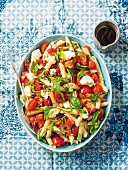 Pasta salad with tomatoes and feta cheese