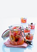Fruit compote with vanilla and star anise in a preserving jar