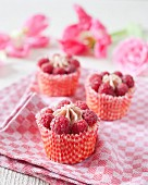 Raspberry crown cupcakes