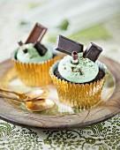 Chocolate espresso cupcakes with peppermint cream