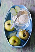 Apple strudel ice cream and fresh apples