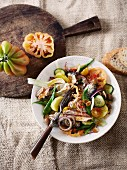 Tunisian oil sardine salad with vegetables