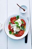 Tomatoes with buffalo mozzarella and basil