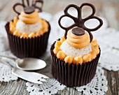 Grand Marnier cupcakes decorated with chocolate