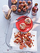 Tapas: meatballs, stuffed mushrooms and spicy chicken wings (Spain)