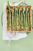 Asparagus quiche with fresh wild garlic