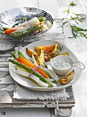 vegetables parcels with roast potatoes and herb sauce