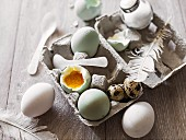 An arrangement of eggs with feathers, spoons and salt in an egg box