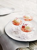 Lime sorbet with rhubarb compote