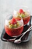Raspberry mousse with kiwi