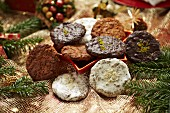 Elisenlebkuchen (spiced soft gingerbread from Germany) with different glazes
