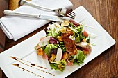 Marinated rabbit and chanterelle mushroom salad