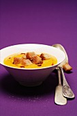 Pumpkin soup with cinnamon croutons
