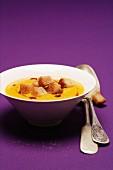Pumpkin soup with cinnamon croutons