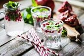 Detox drink with lemon water, mint and pomegranate seeds