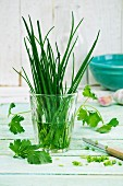 Chives in a glass of water with parsley and garlic next to it on a wooden surface