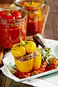A jar of stuffed peppers