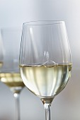 Glass of White Wine with Flower