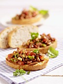 Bruschetta topped with chanterelle mushrooms