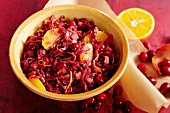 Red cabbage with oranges and cranberries