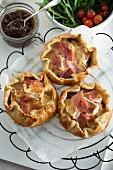 Mini ham and Camembert tarts