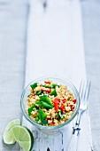 Couscous salad with mange tout