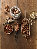 Various nuts on a rustic wooden table