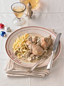 Coq au Riesling with Spätzle (soft egg noodles from Swabia) for Christmas