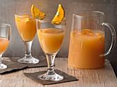 Rose wine sangria with oranges