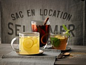 Hot lemon with ginger, hot Hugo and Christmas mulled wine