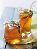 Refreshing ice tea with Earl Grey and mint