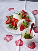Buttermilk mousse with strawberries and nut pesto