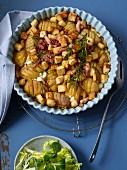 Swedish potatoes – potatoes with bacon and croutons