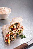 Tortillas with smoked chicken breast and chipotle mayonnaise