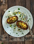Double baked potatoes on kohlrabi carpaccio (vegan)