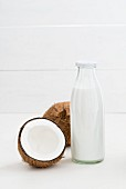Coconut milk in a glass bottle
