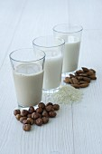 Hazelnuts and hazelnut milk, rice and rice milk, almonds and almond milk